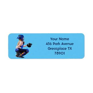 Softball Catcher And Stadium Painting Label