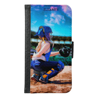 Softball Catcher And Stadium Painting Wallet Phone Case For Samsung Galaxy S6