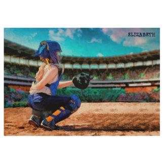 Softball Catcher And Stadium Painting Wood Poster