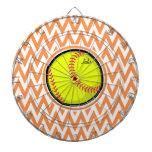 Softball; Chevron anaranjado y blanco Tablero Dardos