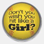 softball-chicas etiqueta redonda