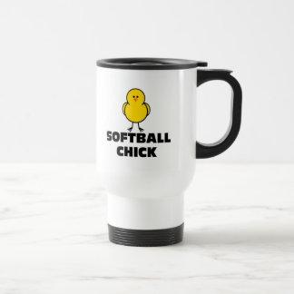 Softball Chick 15 Oz Stainless Steel Travel Mug