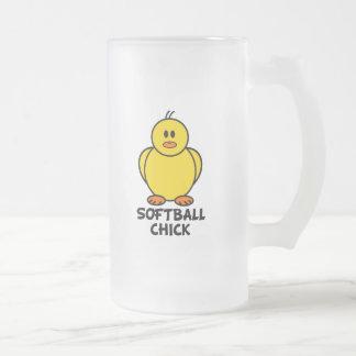 Softball Chick 16 Oz Frosted Glass Beer Mug
