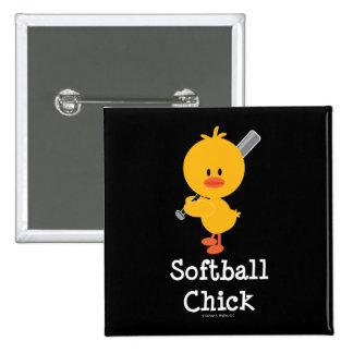 Softball Chick Button