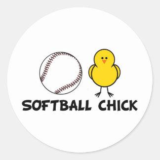 Softball Chick Classic Round Sticker