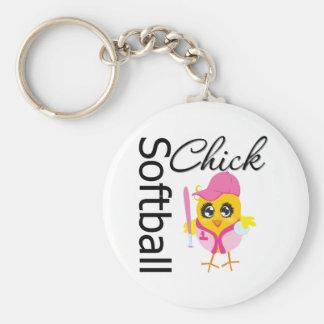 Softball Chick Basic Round Button Keychain