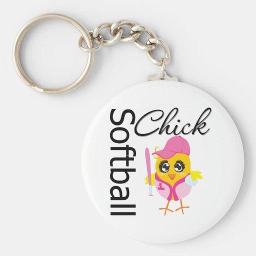 Softball Chick Keychain