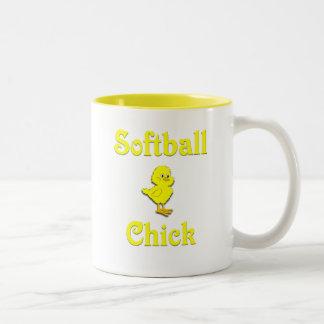 Softball  Chick Two-Tone Coffee Mug