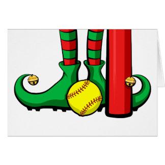 Softball Christmas Elf Feet Greeting Card