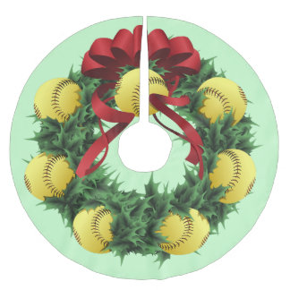 Softball Christmas Wreath Brushed Polyester Tree Skirt