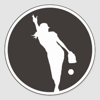 softball Circle Pitcher Round Sticker