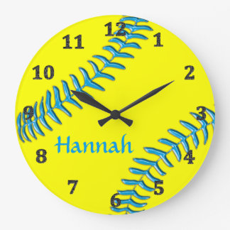Softball Clocks Your NAME, Background, Text COLORS