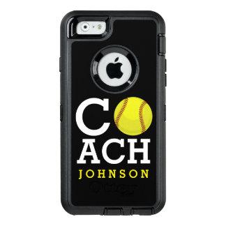 Softball Coach Custom Name OtterBox Defender iPhone Case