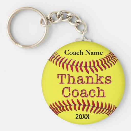 Softball Coach Gifts Ideas with NAME and YEAR Keychains