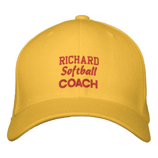 SOFTBALL Coach GOLD Embroidered Hat Custom Name Embroidered Baseball Caps