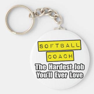 Softball Coach...Hardest Job You'll Ever Love Keychain