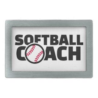 Softball coach rectangular belt buckle
