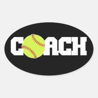 Softball Coach Oval Sticker