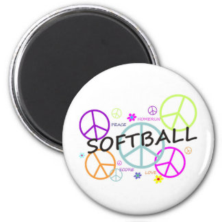Softball Colored Peace Signs 2 Inch Round Magnet