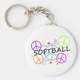 Softball Colored Peace Signs Basic Round Button Keychain