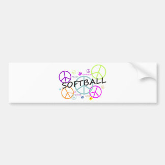 Softball Colored Peace Signs Bumper Sticker