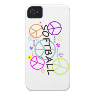 Softball Colored Peace Signs iPhone 4 Cover