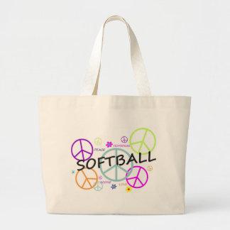 Softball Colored Peace Signs Jumbo Tote Bag