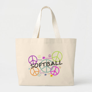 Softball Colored Peace Signs Large Tote Bag