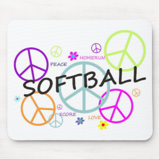 Softball Colored Peace Signs Mouse Pads