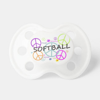 Softball Colored Peace Signs Pacifiers