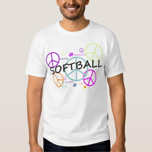 Softball Colored Peace Signs Shirts