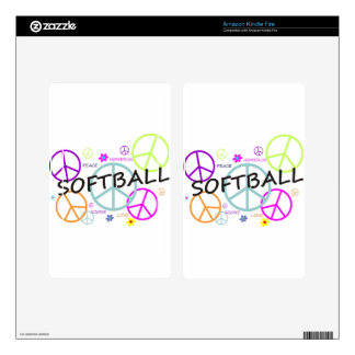 Softball Colored Peace Signs Skins For Kindle Fire