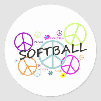 Softball Colored Peace Signs Stickers