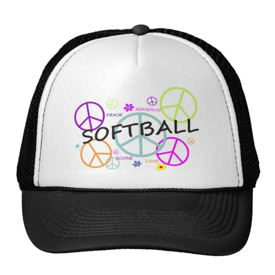 Softball Colored Peace Signs Trucker Hat