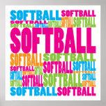 Softball colorido poster