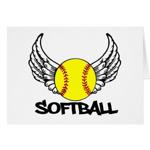 Softball con las alas tarjeta