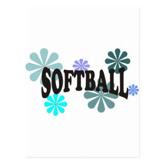 Softball con las flores azules postal