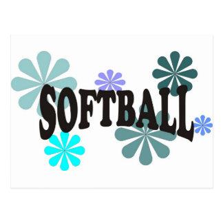 Softball con las flores azules tarjetas postales