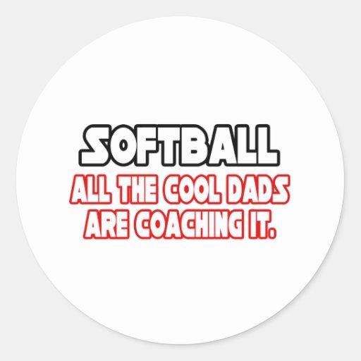 Softball...Cool Dads Classic Round Sticker