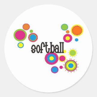 Softball Cool Polka Dots Round Sticker