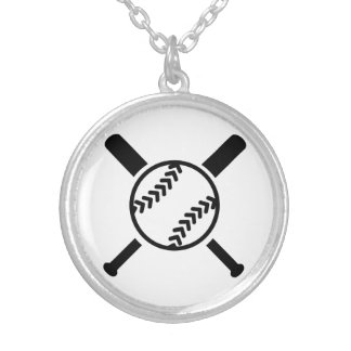 Softball crossed bats silver plated necklace