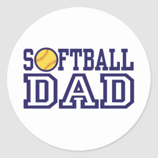 Softball Dad Classic Round Sticker