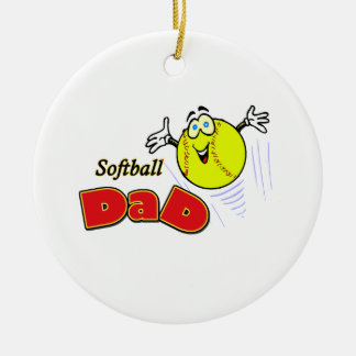Softball Dad Double-Sided Ceramic Round Christmas Ornament