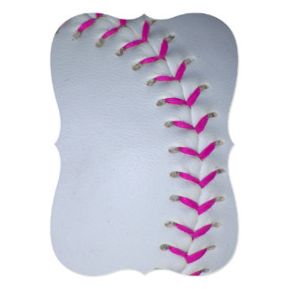 """Softball de costura rosado invitación 5"""" x 7"""""""