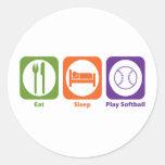 Softball de Eat Sleep Play Etiquetas Redondas