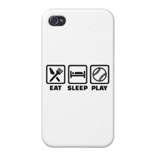 Softball de Eat Sleep Play iPhone 4 Funda