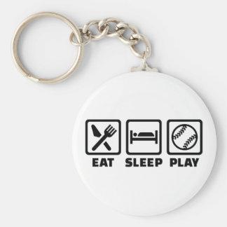 Softball de Eat Sleep Play Llavero Redondo Tipo Pin
