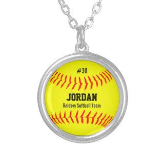 Softball de encargo con el nombre del jugador, collar plateado