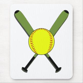 Softball de Fastpitch y palos cruzados Tapete De Raton