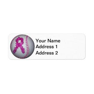 Softball de la conciencia del cáncer de pecho etiquetas de remite